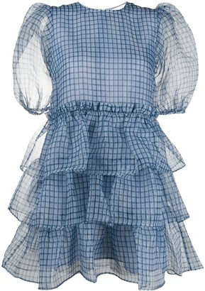 Ganni Puff-Sleeves Checked Tier Dress