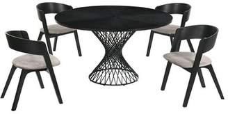 Corrigan Studio Schoonmaker 5 Piece Breakfast Nook Dining Set Corrigan Studio Table Top Color: Black, Chair Color: Black