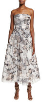 Monique Lhuillier Strapless Butterfly-Print Midi Cocktail Dress, Black/Multicolor