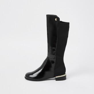 River Island Girls Black pearl heel knee high boots