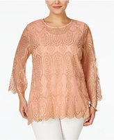American Rag Trendy Plus Size Embroidered Blouse, Only at Macy's