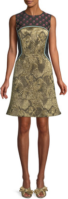 Etro Sleeveless Metallic Mixed-Brocade Flared-Hem Dress