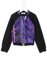 Versace panelled zip front sweatshirt