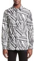 Versace Men's Slim Fit Allover Print Sport Shirt
