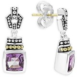 Lagos 18K Gold and Sterling Silver Caviar Color Amethyst Drop Earrings