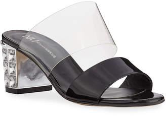 Neiman Marcus Jeweled-Heel Patent Mule Sandals
