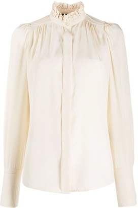 Isabel Marant Ruffle-Neck Long-Sleeved Blouse