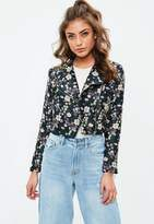 Missguided Petite Black Jacquard Jacket, Multi