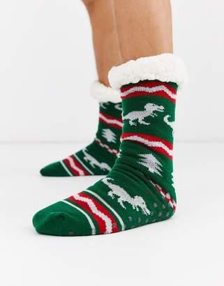 Asos Design DESIGN dinosaur fairisle design slipper sock with lining-Green