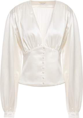Saint Laurent Gathered Silk-satin Crepe Blouse