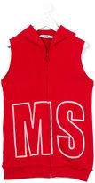 MSGM logo embroidered sleeveless hoodie - kids - Cotton - 6 yrs
