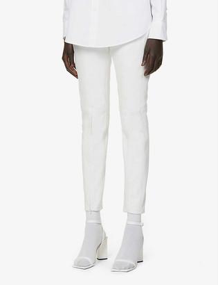 MM6 MAISON MARGIELA Zipped-hem straight-leg mid-rise leather trousers