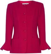 Oscar de la Renta Stretch Wool-blend Jacket - Magenta