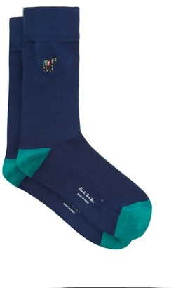 Paul Smith Zebra-embroidered Cotton-blend Socks - Mens - Blue Multi