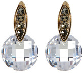 Judith Jack 10K Gold Plated Round CZ Drop & Marcasite Accent Post Earrings