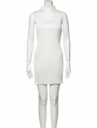 Pleats Please Issey Miyake Turtleneck Mini Dress White