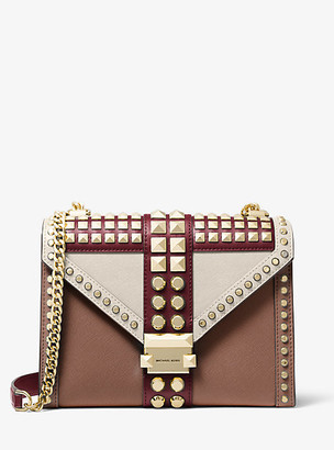 Michael Kors Whitney Large Studded Saffiano Leather Convertible Shoulder Bag