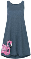 Instant Message Women's Women's Casual Dresses HEATHER - Heather Blue Flamingo Side-Hit Shift Dress - Women