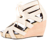 Pierre Hardy Canvas Cutout Lace-Up Wedges