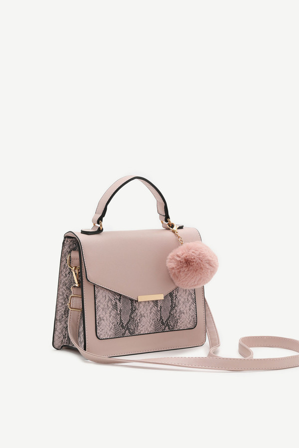 Ardene Color Block Faux Leather Crossbody with Pompom