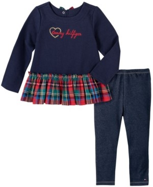 Tommy Hilfiger Baby Girls Plaid Tunic Faux Denim Legging Set