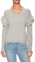 Cashmere Solid Ruffle Sleeve Sweater