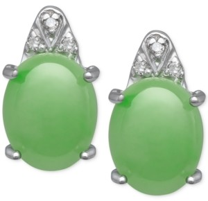 Macy's Jade (8mm x 10mm) and Diamond Accent Stud Earrings in Sterling Silver