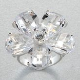 Sterling silver clear flower ring