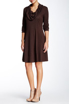 Max Studio Long Sleeve Cowl Neck Trapeze Dress