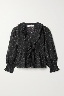 DÔEN Hardy Ruffled Floral-print Organic Cotton-blend Blouse - Black
