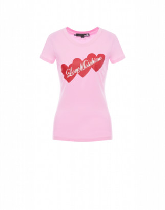 Love Moschino T-shirt Hearts Woman Pink Size 38 It - (4 Us)