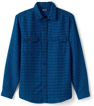 Lands' End Men's Plaid Fleece-Lined Back Overshirt Shirt Jacket
