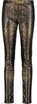 Roberto Cavalli Printed Faux Leather Skinny Pants