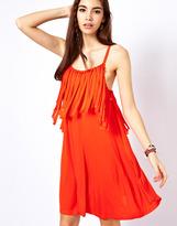 Asos Swing Dress With Fringe Neckline