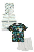 Infant Boy's Rosie Pope Safari Pocket T-Shirt, Hooded Vest & Shorts Set