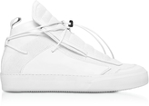 Ylati Ulisse White Perforated and Smooth Nappa Leather High Top Men's Sneakers