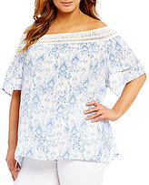 Westbound Plus Crochet Off the Shoulder Top