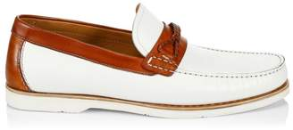 Saks Fifth Avenue BY MAGNANNI Braided Loop Cross Strap Leather Boat Shoes