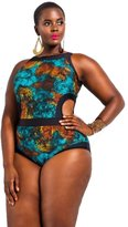 MITIAO womens one piece cut out plus size swimwear colourful pattern 4XL