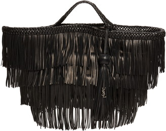 Saint Laurent Panier Tiered Fringe Leather Tote