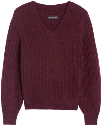 Banana Republic Petite Aire Ribbed V-Neck Sweater