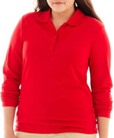 Arizona Long-Sleeve Uniform Polo Shirt - Juniors Plus