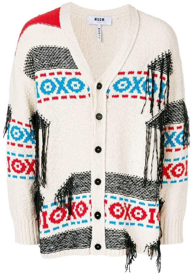 MSGM loose thread detail cardigan