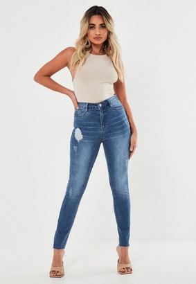 Missguided Blue Clean Distressed Skinny Jeans