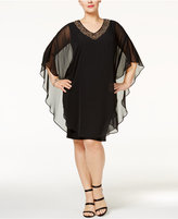 Xscape Evenings Plus Size Embellished Flutter Cape Dress