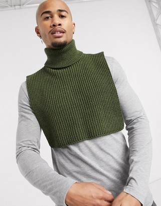 ASOS DESIGN knitted roll neck scarf in khaki