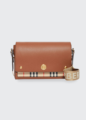 Burberry Note Medium Vintage Check & Leather Crossbody Bag with Logo Web Strap