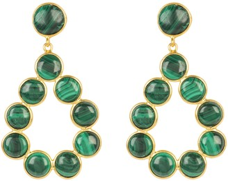 Latelita Hatun Gemstone Statement Earrings Gold Malachite