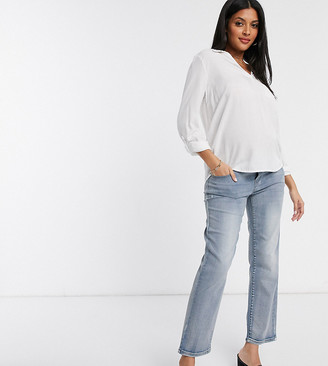 Mama Licious Mamalicious Maternity mom jeans in blue light wash