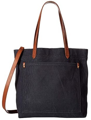 Madewell Canvas Medium Transport Tote (Black Sea) Tote Handbags